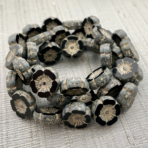 12mm Hibiscus Black with Gold Finish