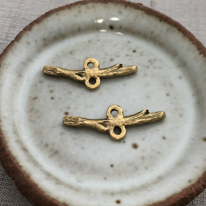 Stacking Twig Connector Antique Gold Set of 2
