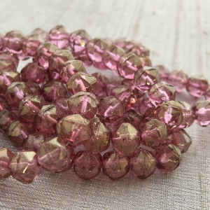 8mm English Cut Medium Pink with Golden Luster