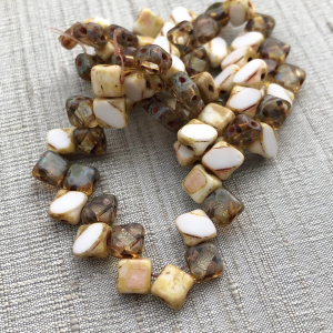 6mm Two Hole Silky Bead White and Gold Transparent Mix