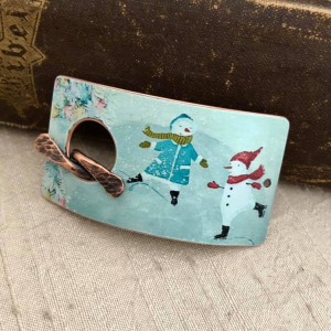 Snow Friends Faux Tin Bracelet Toggle
