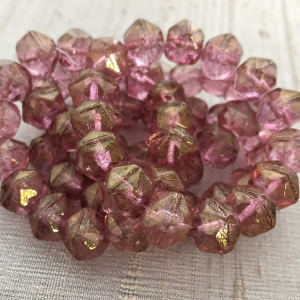 10mm English Cut Medium Pink with Golden Luster