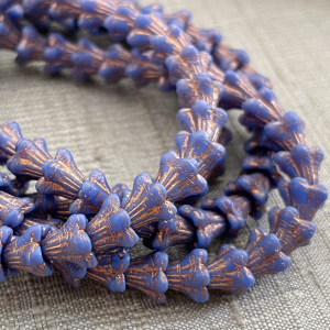 5x6mm Bell Flowers Indigo with Copper Wash