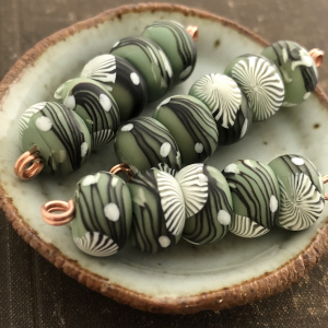 Sage Branches Disk Beads