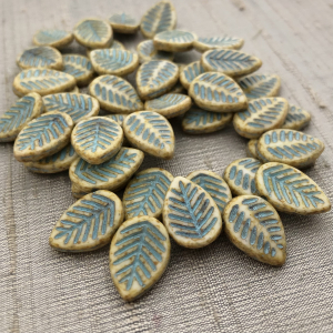 12x16mm Dogwood Leaves Honey with a Turquoise Wash