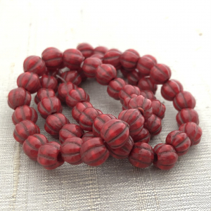 8mm Large Hole Ruby Red with Bronze Wash
