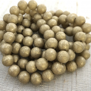 8mm Round Druk Champagne with Gold Wash and Etched Finish