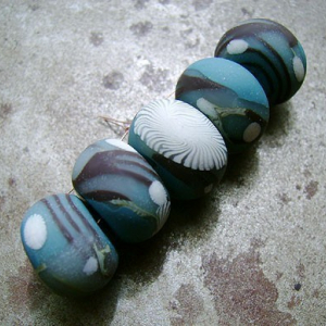 Teal Branches Disk Beads