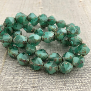 8x10mm Faceted Bicone Sea Green with Picasso Finish