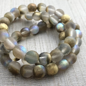 8mm Round Grey with An Etched Finish and Gold Luster