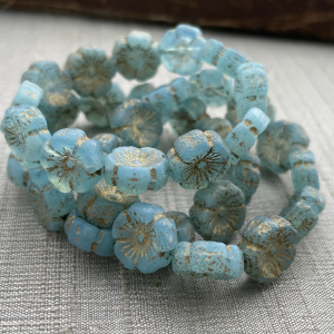 12mm Hibiscus Baby Blue with Gold Etched Finish