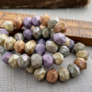 10mm English Cut Bead Mix Of Grape, Apricot, and Willow