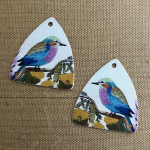 Lilac Breasted Roller Shield Earring Charms