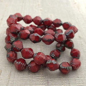 8x10mm Faceted Bicone Ruby Red and Ladybug Red with Picasso Finish