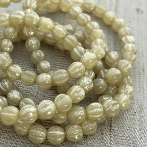 6mm Melon Opal Ivory with Mercury Finish