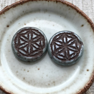 18mm Flower Of Life Coin Blue-green with Brown Wash - 2 Beads