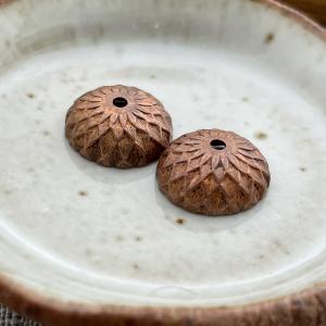 Copper Acorn Bead Caps - 2