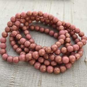 6mm Round Druk Dusty Rose with Copper and Etched Finish