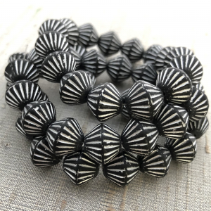 11mm Bicone Black with Silver Wash