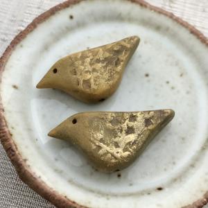 Tiny Willow Bird Bead Pair: Gold