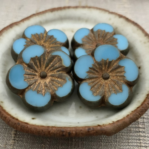 22mm Hibiscus Flower Medium Sky Blue with Gold Wash and Metallic Picasso Finish - 1 Bead