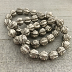 12mm Melon Antique Silver with White Wash