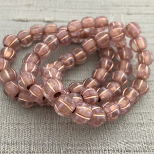 8mm Large Hole Melon Pink and White with a Copper Wash