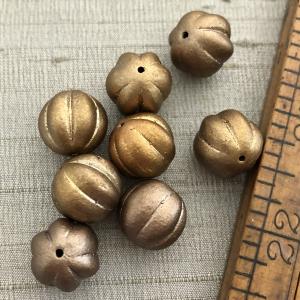 14mm Melon Metallic Bronze/Gold Beads