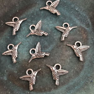 Antique Silver Hummingbird Charm 18x14mm