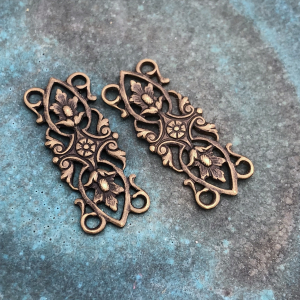 Acorn Leaves Connectors - Solid Brass 53 x 12mm