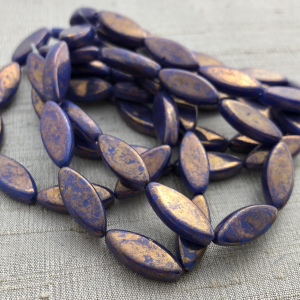 18 x 7mm Spindle Indigo with Gold Wash
