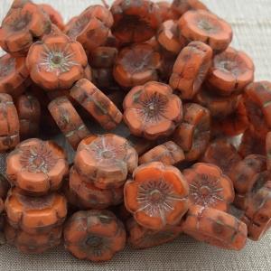 12mm Hibiscus Orange with Picasso Finish