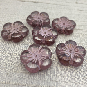 22mm Hibiscus Flower Transparent Glass with Mulberry and Bronze Finish - 1 Bead