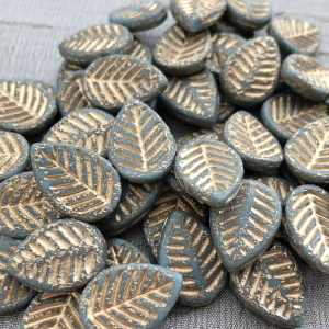 12x16mm Dogwood Leaves Medium Sky Blue with Etched Finish and Gold Wash