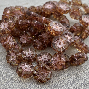 12mm Hibiscus Flower Transparent Glass with Picasso Finish and Pink Wash