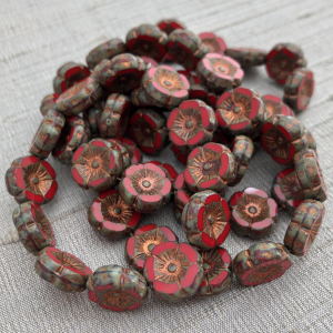 12mm Hibiscus Flower Scarlet Red with Picasso and Copper Finish