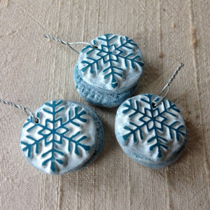 Tiny Teal Snowflake Charms
