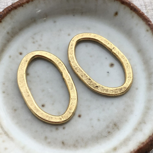 Clone of Hammered Flat Oval Antique Gold - 24x15mm