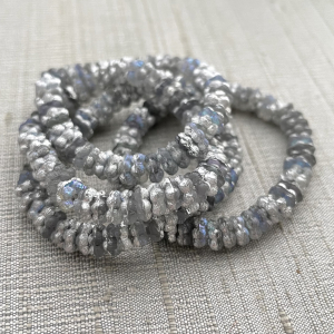 5mm Forget-Me-Not Spacers Grey/Silver with Etched Finish