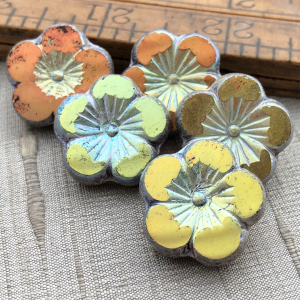 22mm Hibiscus Flower Golden Olive with Antique Silver Finish - 1 Bead
