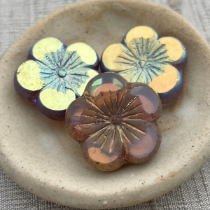 22mm Hibiscus Flower Transparent Glass with AB Bronze Finish - 1 Bead