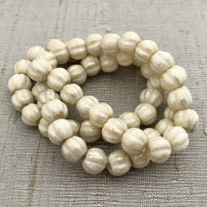 8mm Large Hole Melon Yellow Ivory with Mercury Finish