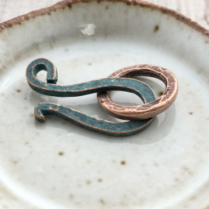 Hammered Hook and Eye Clasp - Antique Copper