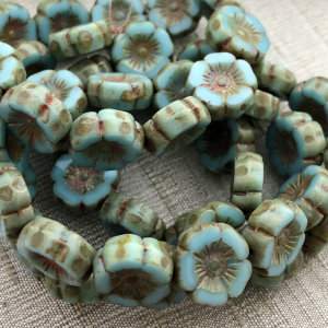 12mm Hibiscus Sky Blue with Picasso Finish