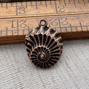 Large Nautilus Pendant Antique Copper