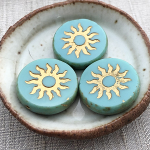 22mm Sun Coin Sea Green with Gold Wash and Picasso Finish - 1 Bead
