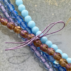 5mm Faceted Fire Polish Bead Bundle - Bright Sky
