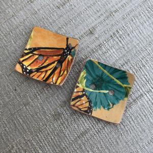 Faux Tin Button Set - Monarch Butterflies