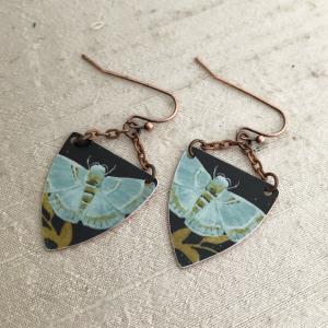 Aqua Moth Earring Charms