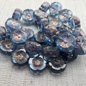 14mm Hibiscus Flower Pale Blue with Copper Finish